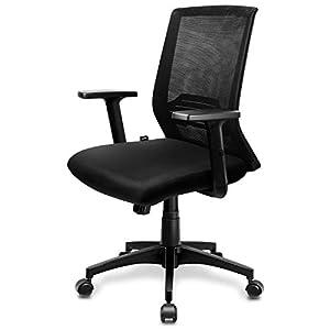 INTEY Silla de oficina, Sillas oficina Ergonómica, silla de escritorio Ajustables Apoyabrazos y soporte lumbar, transpirable y Material Fiable, Carga máx.120kg
