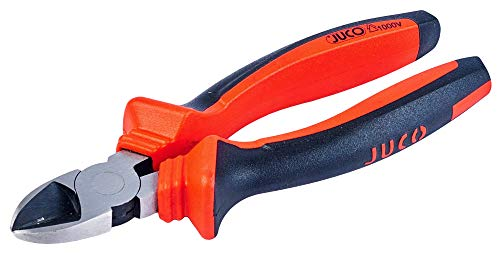 JUCO Alicates de corte lateral 1000 V, alicate con mango de 2 componentes, alicate multifunción forjado pulido, alicates pequeños de acero de alta calidad, 160 mm