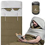 Wearable Sleeping Bag with Thickened Warm Liner, Great for Adults Backpacking,Camping, Outdoor Sport Events and 2 Person Double Sleeping Pad,Army Green
