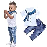 3Pcs Kids Boys Casual Clothing Cotton Short Sleeved Shirt + Denim Jeans + Scarf Outfits Set(White, 2-3T (4T))