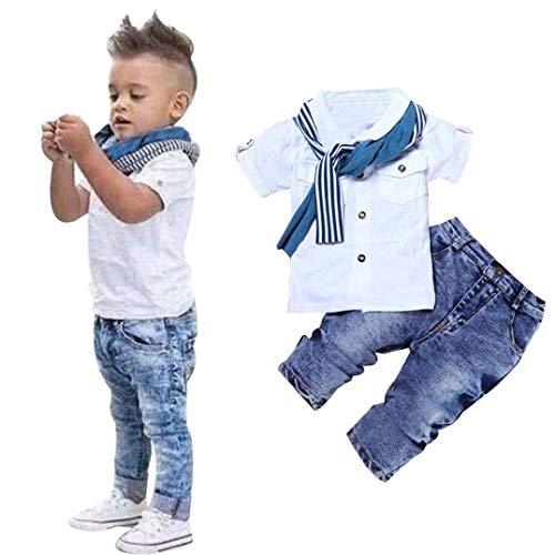 Toddler Baby Boy Clothes Cotton Short Sleeve Shirt + Denim Jeans + Scarf Kids Boys 3Pcs Summer Outfit Set(White, 12-18Months (2T))