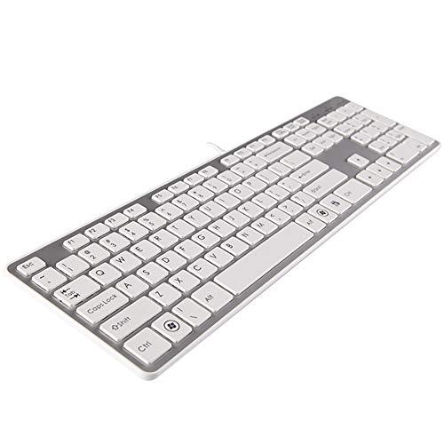 Facdgfgs bekabeld, ergonomisch, USB, Slim Game, stil, bureau-toetsenbord, met stofbescherming, chocoladesleutel, voor Win 10/8/7/Vista/XP Mac - full size (zilver)