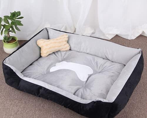Shoplifemore Cesta impermeable para perro para cachorro, pequeño, mediano, grande, gato, canastas de perro, alfombra para casa, cojín de otoño e invierno (60 x 45 cm), gris y negro