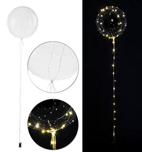 infactory Ballon mit Lichterkette: Luftballon mit Lichterkette, 40 warmweiße LEDs, Ø 30 cm, transparent (Helium Ballon mit Lichterkette)