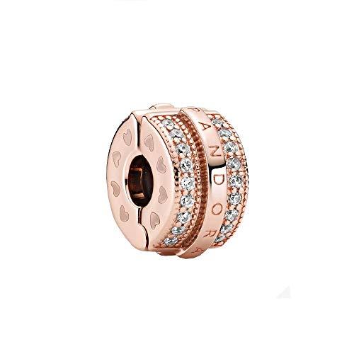 Pandora Abalorio de aleación de metal chapado en oro rosa de 14 quilates con circonitas cúbicas de la colección Pandora...