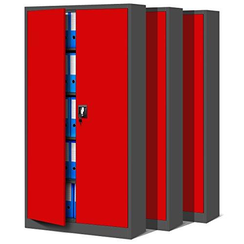 Jan Nowak 3er Set Aktenschrank C001 Metallschrank Stahlschrank Werkzeugschrank Büroschrank Lagerschrank Universalschrank Pulverbeschichtung Flügeltüren 185 cm x 90 cm x 40 cm (anthrazit/rot)