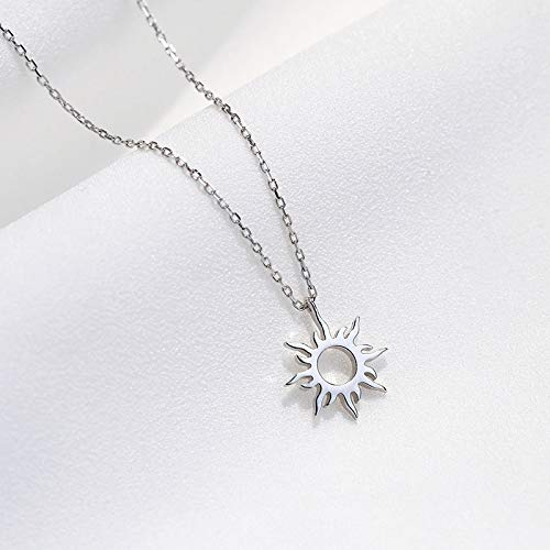 Women Necklace 925 Sterling Silver, Pendant Necklaces Women Jewellery, Hollow Sun 925 Sterling Silver Clavicle Chain Necklace Gifts for Wife Mum Friend Birthday Anniversary Day