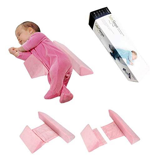 Seitenstützkissen Babys, Baby-Keilkissen aus atmungsaktiver Velvet, Einfach zu verwenden, Abnehmbares, abnehmbares und waschbares Kissen gegen Überschlag Drei Farben (Rosa)