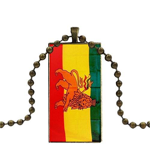 Inveroo Colgante De Vidrio Collar Hecho A Mano Medio Colgante Rectángulo Collar Rastafari Reggae Música Bandera