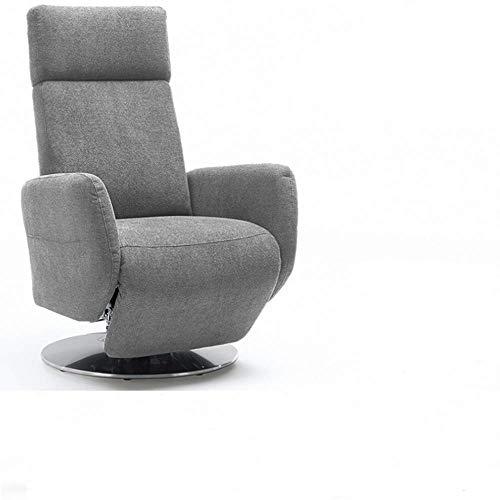Cavadore TV-Sessel Cobra / Fernsehsessel mit Liegefunktion, Relaxfunktion / Stufenlos verstellbar / Ergonomie L / Belastbar bis 130 kg / 71 x 112 x 82 / Hellgrau