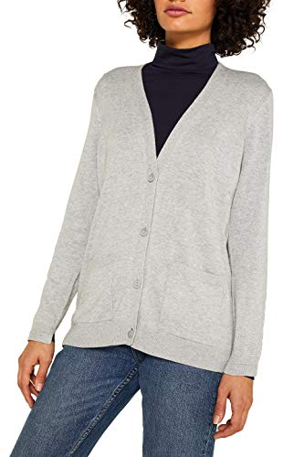 ESPRIT Damen 999Ee1I802 Strickjacke, Grau (Light Grey 5 044), X-Large (Herstellergröße:XL)
