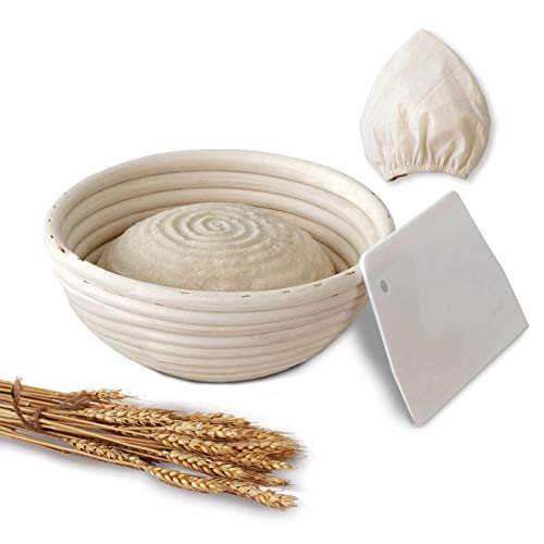 Round Banneton Bread Proofing Baskets | Artisan Wicker Cane Dough Rising Bowl Brotform Basket for Batard Sourdough with Dough Scraper and Cloth Liner (1, 8 inch)