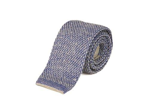 Cravate tricotée en laine et coton double filetage - - Taille Unique