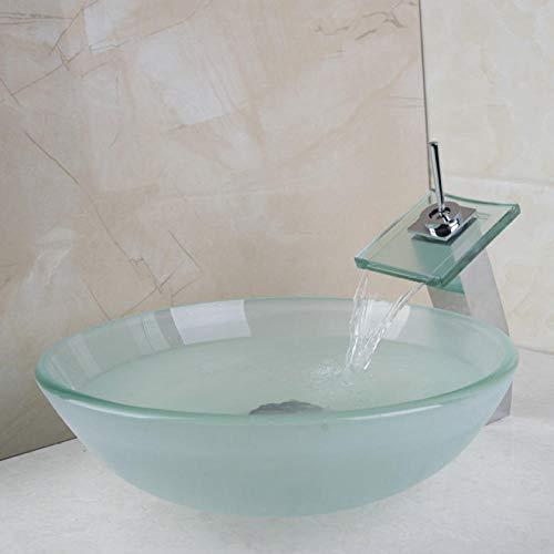 Jgophu New Matt Victory Glasschale, Waschbecken, Wash Square Chrome Wasserfall Wasserhahn Mit Runden Gehärtetem Glas Waschbecken Set