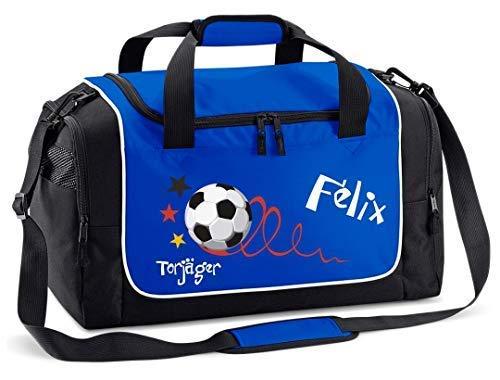 Mein Zwergenland Sporttasche Kinder Praktisch kompakt & robust Sporttasche mit Namen Fußball Torjäger als Aufdruck Farbe Royal Blau 38 L Stauraum die perfekte Sporttasche für Kinder