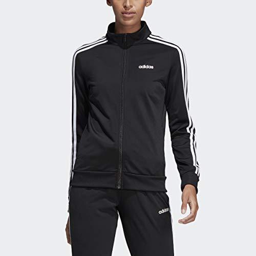 adidas Women's Essentials 3-stripes Tricot Track Jacket, Black/White, Medium