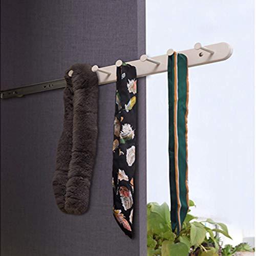 XCJJ Wardrobe Tie Rack Multifunctional Pull-Out Hanger, Belt Storage Shelf, Metal Material, Ball Mute Rail,White,35cm