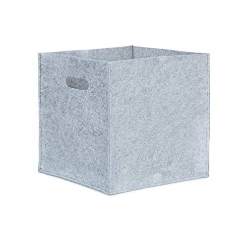 Relaxdays Quadratischer Filzkorb, H x B x T: 30 x 30 x 30 cm, faltbar, mit 2 Trageöffnungen, schicker Regalkorb, grau