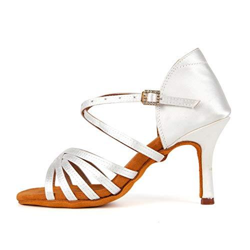 RUYBOZRY Zapatos de Baile Latino Mujer de Baile Zapatillas de Baile de salón Salsa Performance Calzado de Danza,213ZS-Blanco-9,EU 34