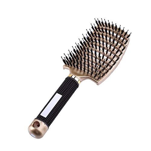 SCAYK Haarbürste Frauen Nass Kamm Haarbürste Professionelle Haarbürste Massage Kamm Pinsel für Haare Friseur Friseur (Color : Gold)
