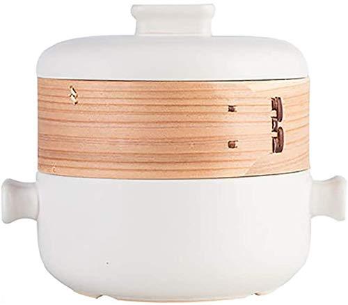 ZCM Doppeldecker-Dampfgarer-Auflaufform, Hitzebeständige Suppentopf Mit Offener Flamme, 2,5 L Haushaltseintopf Keramikkaffee(Color:Weiß,Size:2.5 Litre)