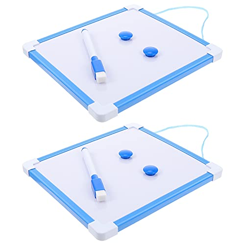 VICASKY 2 Juegos de Pizarra Blanca de Borrado en Seco Magnética para Colgar en La Pared con Rotuladores Imanes para Niños para Dibujar en La Pared Dormitorio Nevera Nota de Enseñanza Azul