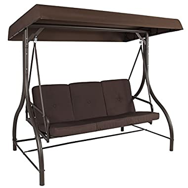 Best Choice Products 3-Seat Convertible Outdoor Swing Canopy Hammock Deck Furniture - Brown