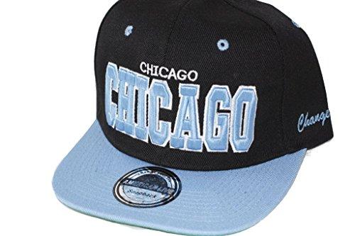 Hip Hop Casquette chapeau CITY SNAPBACK équipe ville américaine FS-413 (CHICAGO-SCHWARZ-HELLBLAU-)