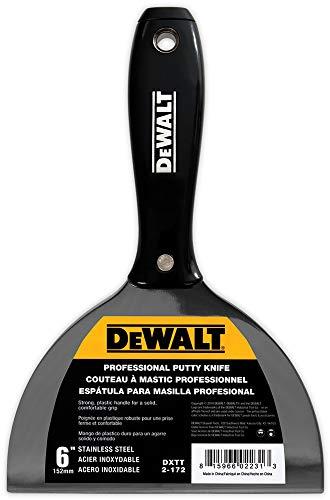 DEWALT DXTT-2-172 Spachtelmesser, Edelstahl, mit schwarzem Nylon-Griff, 15,2 cm