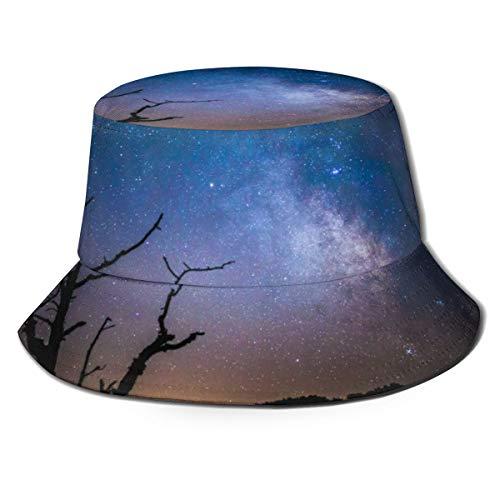 NA Unisex Bucket Sonnenhut Pfau breite Krempe Outdoor Sonnenschutz Walking Fisherman Cap Kosmos Dark Galaxy Milky Way Night Silhouette Himmel Sterne Baum