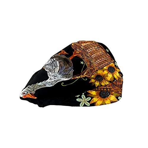 Gorra de mujer para cabello largo con banda elástica ajustable para el sudor Gorras de trabajo para hombres bufanda de cabeza impresa 3D sombreros cesta de ganso girasoles