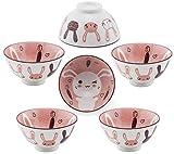 Hinomaru Collection Oriental Japanese style Set of 6 Ceramic Donburi Rice Bowl Tayo Multi Purpose 4.5' Dia x 2.25' H (Rabbit)