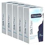 Pasante Silk Thin 5x12 (60 superdünne Kondome), extrem dünne Wandstärke für intensiveres Empfinden, Eco-Pack