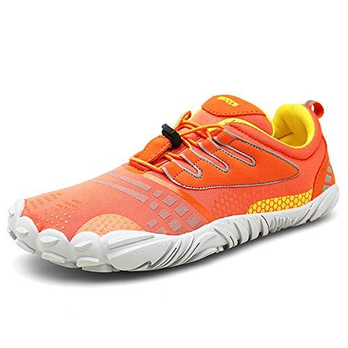 FOGOIN Barfußschuhe Fitnessschuhe Herren Damen Laufschuhe Trekking Schuhe Traillaufschuhe rutschfeste Schnell Trocknend Sportschuhe Gr41 Orange
