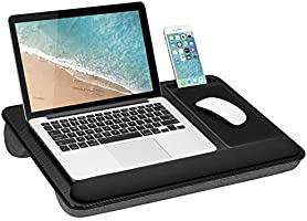 LapGear Home Office Pro Lap Desk with Wrist Rest, Mouse Pad, and Phone Holder - Black Carbon - Fits Up To 15.6 Inch...