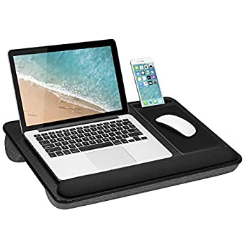 LapGear Home Office Pro Lap Desk with Wrist Rest Mouse Pad and Phone Holder - Black Carbon - Fits Up To 15.6 Inch Laptops - style No 91598