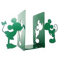 MsFun ミッキーとミニー 本立て ブックエンド金属製 卓上収納ブックエンドおしゃれ さびない鋼鉄製本立て 重い本のブックエンド| 装飾的で創造的な本棚デスクトップ本棚(緑)
