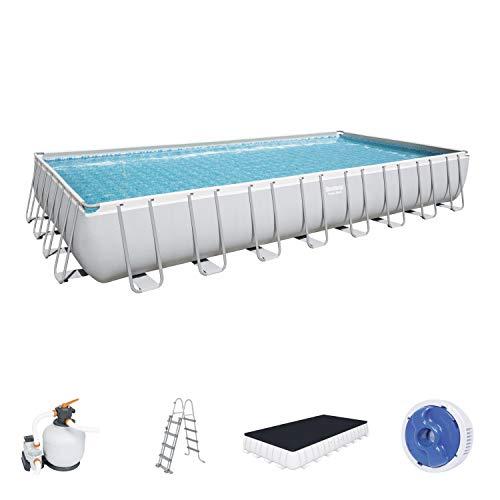 Power Steel Frame Pool Komplett-Set, eckig, mit Sandfilteranlage, Sicherheitsleiter & Abdeckplane 956 x 488 x 132 cm