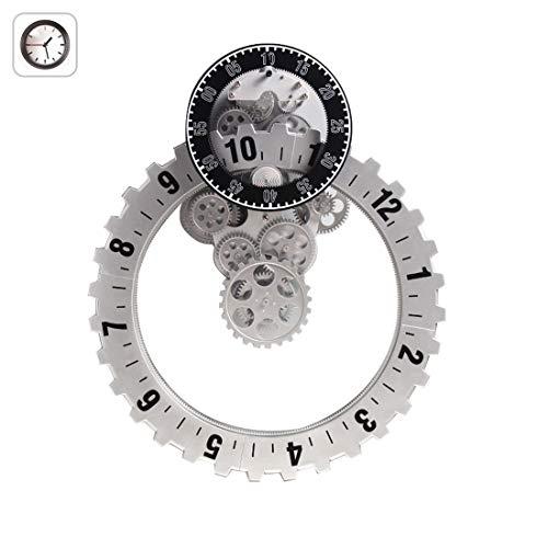FDYD Wand-tandwiel-klokhouder met beweegbare gears, Smart-kwarts, 3D, premium kunststof en metalen onderdelen materiaal (zilveren zaagtandwiel)
