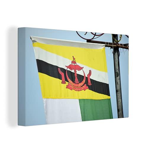 Leinwandbild - Flagge von Brunei am Mast - 150x100 cm