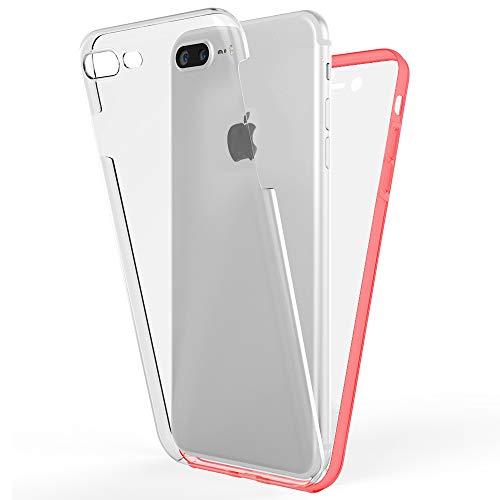 NALIA Funda Integral Compatible con iPhone 8 Plus / 7 Plus, Carcasa Completa con Cristal Templado, Ultra-Fina Telefono Movil Cubierta Protectora Cover Delgado Bumper Phone Case, Color:Rojo