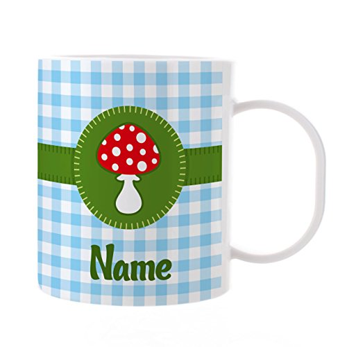 Striefchen® Kinder Tasse mit Namen - Glückspilz - aus Kunststoff