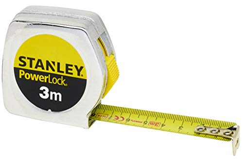 Stanley Bandmaß / Messband Powerlock (aus Metall, 3 m lang, mit Gürtelclip, extra starkes Band, gebogen, beidseitige Skala, Mylar-Schutzschicht, Endhaken zweifach vernietet) 1-33-218