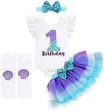 Baby Girls 1st Birthday Mermaid Outfit Romper Headband Leggings Tutu Dress Sequin Bowknot Princess Skirt Sets (6-12 Months, White # Birthday)