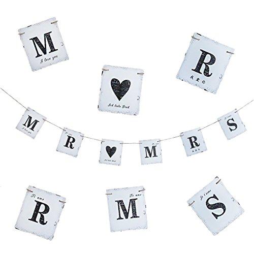 Oblique-Unique® Mr & Mrs Hochzeit Girlande Banner Ich Liebe Dich I Love You Dekoration - Vintage Look