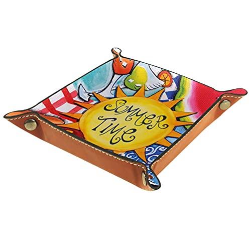 Valet Tray, PU Leder Catchall, Tray Organizer, Aufbewahrungsbox für Uhren Schmuckmünzen Key Wallet Summer Fun Wassermelone Hotdog Picknick Grill Sonnenschein