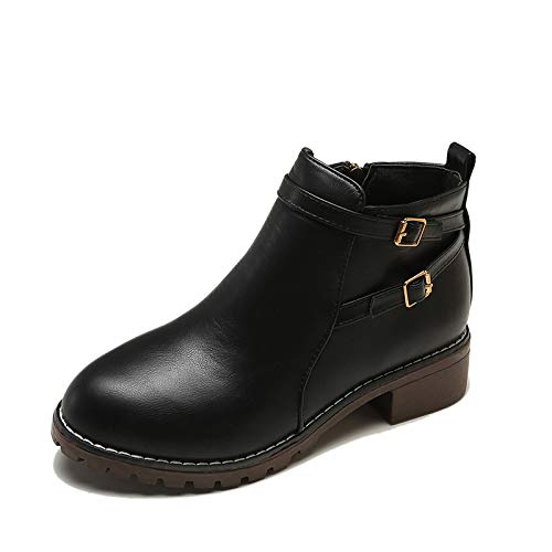Shukun enkellaarsjes damesschoenen bare boots herfst en winter ronde kop Low Heel gesp zijdelingse ritssluiting