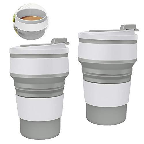 Copa de Viaje Plegable con Tapa,Silicona Taza Plegable de Beber,para Espresso Copa para Camping Caminatas Picnic(350ML x 2)