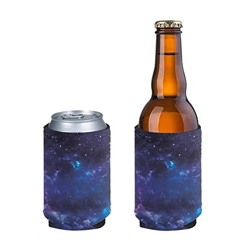Aulaygo Standard Can Sleeves Adjustable Bottle Insulator Sleeve 2pcs Can Beverage Coolers Holder Cover for 12oz Drink Beer Cans for Party Wedding DIY Project Sport Match, Galaxy
