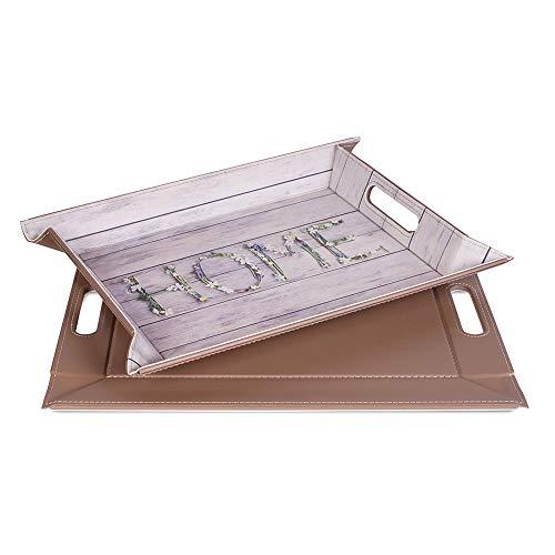 FREEFORM DUO - 2in1 wendbares Tablett & Tischset mit Motivdruck: Country Home/Taupe, Kunstleder, Maße: 45 x 35 cm